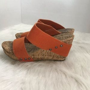 Lucky Brand Cork Heel Wedges